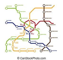 estaciones, clipart., metro, kilómetro, metro, línea, cinco, color, vector, cada, grande, direcciones, metro, travel., mapa, destacado, moderno, número, plantilla, illustration., su, poseer, highspeed, concepto, multi