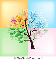 estaciones, cuatro, árbol