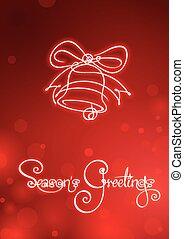 estaciones, saludos, -, navidad, campana