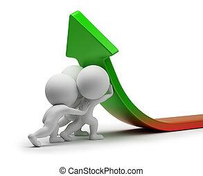 estadística, gente, -, mejora, pequeño, 3d