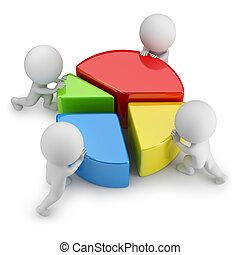 estadística, gente, -, trabajo en equipo, pequeño, 3d