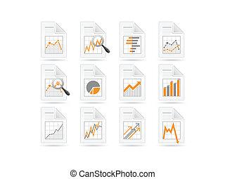 estadística, y, analytics, archivo, iconos