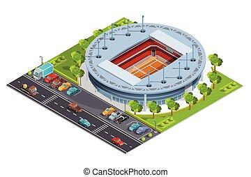 estadio, bandera, deporte, tribunal, abierto, complejo, isométrico, tenis