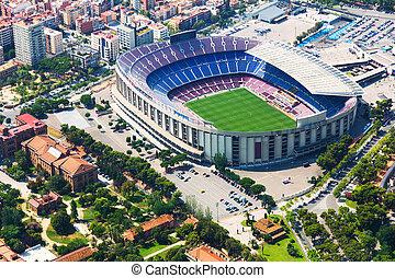 estadio, barcelona, cataluña, más grande, helicopter.