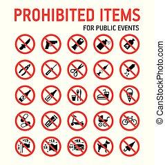 estadio, colección, events., masa, señales, control, prohibición, seguridad, durante