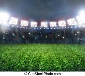 estadio, en, luces