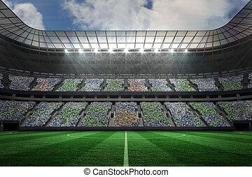 estadio, fútbol, proyectores, grande, debajo