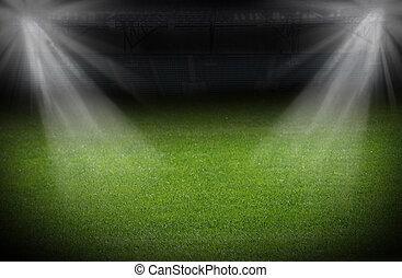 estadio, iluminado, proyectores, brillante, campo verde, ...
