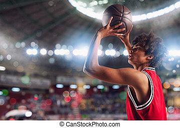 estadio, lleno, baloncesto, tiros, pelota de canasta, spectators., jugador