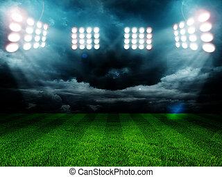 estadio, luces, por la noche, y, estadio