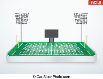 estadio, miniatura, fútbol americano, tabletop, concepto