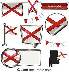 estado alabama, bandeira, lustroso, ícones