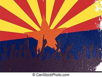 estado arizona, bandeira, com, audiência