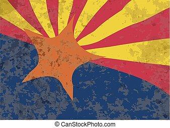 estado arizona, bandeira, grunge