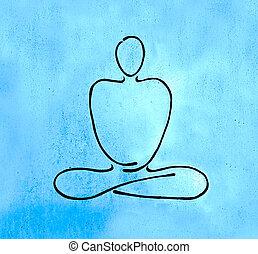 estado, bosquejo, hoja, buddha, cinc, línea