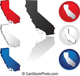 estado, california, iconos