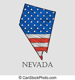 estado de nevada, vector, -, illustration.