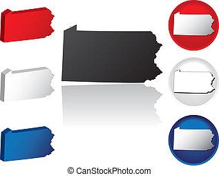 estado, de, pensilvania, iconos