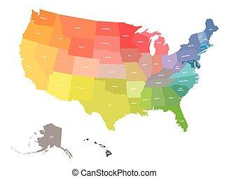 estado, eua, américa, nomes, estados, arco íris, unidas, cores, spectrum., mapa