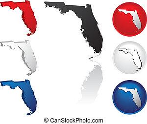 estado, flórida, ícones