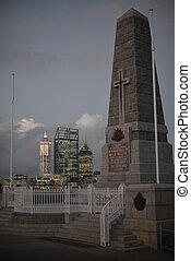 estado, guerra, monumento, en, parque de kings, perth,...