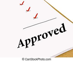 estado, lista de verificación, aprobado