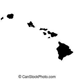 estado, mapa havaí, eua.