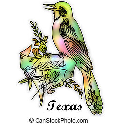 estado, pájaro, tejas
