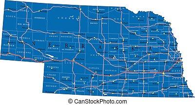 estado, político, mapa, nebraska