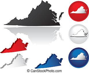 estado, virgínia, ícones