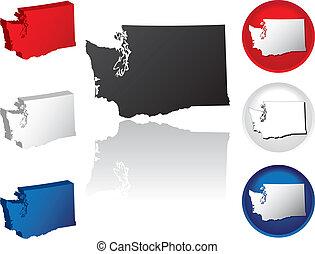 estado, washington, iconos