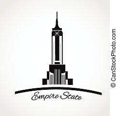 estado, york, logotipo, novo, império, ícone