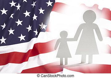estados, único, unidas, filha, mãe