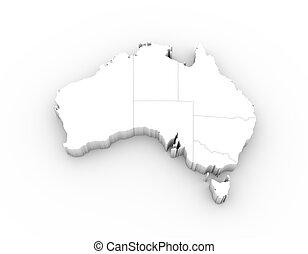 estados, austrália, mapa, 3d, branca