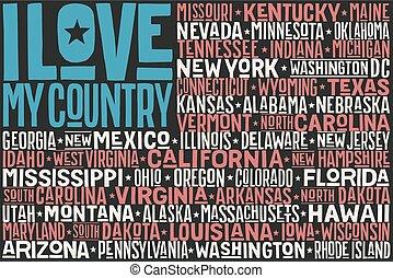 estados, bandeira, estado unido, américa