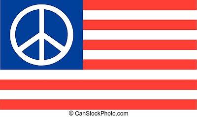 estados, bandeira, unidas, sinal paz