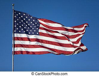estados, bandeira, unidas, vento, soprando