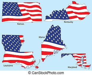 estados, bandeiras, cinco