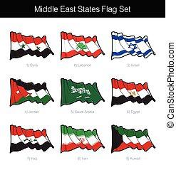 estados, bandera, este, conjunto, medio, ondulación