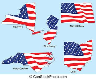 estados, banderas, cinco