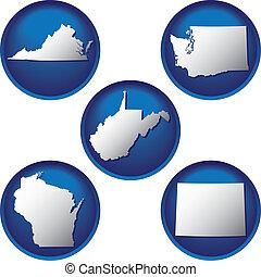 estados, botões, unidas, cinco
