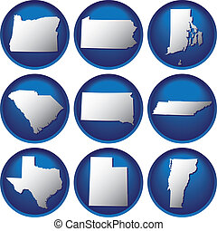 estados, botões, unidas, nove
