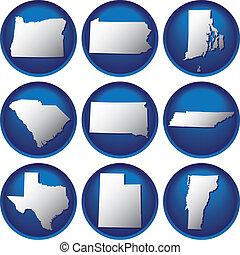 estados, botones, unido, nueve