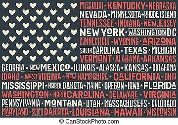 estados, cartaz, bandeira, unidas, américa