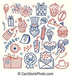 estados, desenhar, unidas, eua, ícones, doodle, isolado, ilustração, tradicional, july., vetorial, background.hand, símbolos, branca, estilo, dia, independência, 4