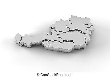 estados, mapa, áustria, prata, 3d