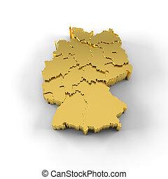 estados, mapa, alemanha, ouro, 3d