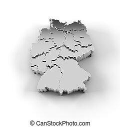 estados, mapa, alemanha, prata, 3d