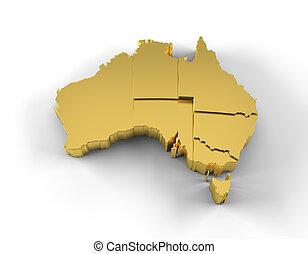 estados, mapa, austrália, ouro, 3d
