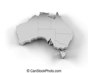 estados, mapa, austrália, prata, 3d
